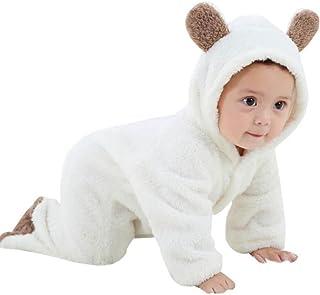 Pyjama B/éb/é Combinaison avec Chapeau,Barboteuse B/éb/é Tenue DHiver Style Animal Grenouill/ère Mignonne Vache Tenues en Flanelle /à Capuchon pour Ensembles Jumpsuit fiosoji