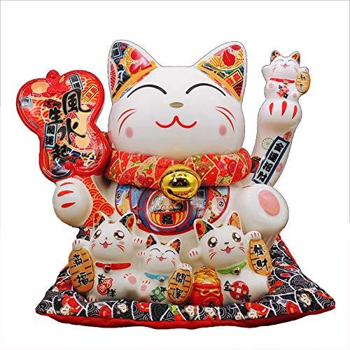 Céramique Chanceux Chat Sculpture Maneki Neko Tirelire En Porcelaine Statue Figurine Home Decor À...