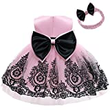 Christening Lace Birthday Christmas Easter Special Occasion Flower Baby Girl Dress Princess Formal Prom Tutu Ball Gown 2T 3T Black Pink 100