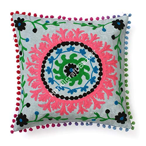 Fundas de almohada decorativas hechas a mano de Suzanne de 40,6 x 40,6 cm, 100% algodón, cuadrada, funda de cojín de lana de Suzani bordada, funda de cojín cuadrada para sofá y respaldo para interiores y exteriores