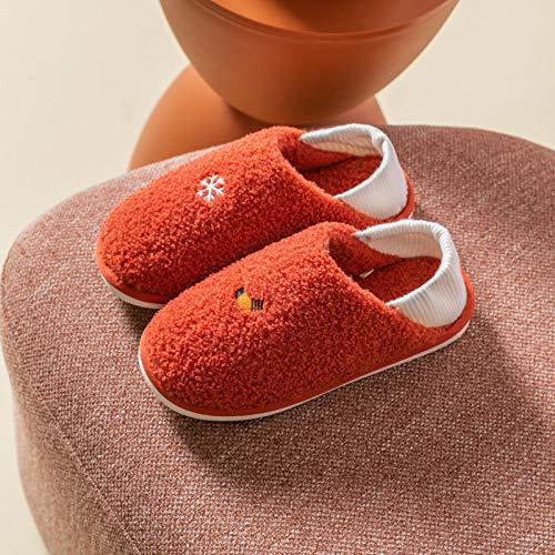 XZDNYDHGX Hombre Mujer Antideslizante,Zapatos de casa para Mujer Chanclas de Invierno, Bolsa cálida con Zapatillas de Felpa para el hogar, Zapatillas de algodón, Naranja, EU 38-39