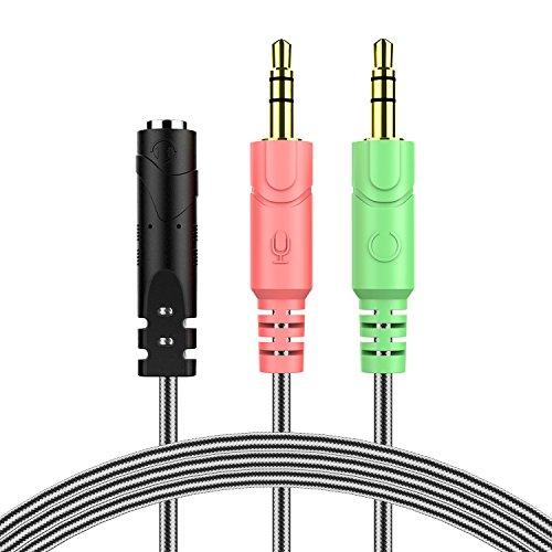 MillSO 3,5mm Audio Klinke Y Kabel Adapter -1 x 3,5mm 4 Position Buchse 2 x 3,5mm 3 Position Stecker für PC, PS4 Gaming Kopfhörer - 100CM Schwarz