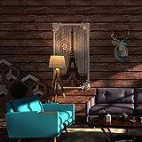 Papel pintado para pared, material de PVC, madera, diseño de madera antigua, estilo retro, para salón, dormitorio o cocina (marrón)
