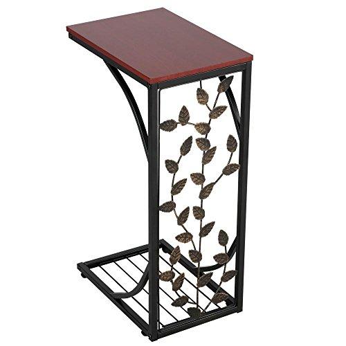 Yaheetech Table d'appoint Table basse en forme de C avec motif de feuilles Table de salon Bout de canapé