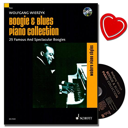 Boogie and Blues Piano Collection met CD - klassieker van de Boogie Woogie van Pinetop Smith, Hersal Thomas of Jimmy Jancey - noten met kleurrijke hartvormige muziekklem