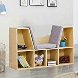 JOYBASE Kids Bookcase with Reading Nook, 6-Cubby Storage and Cushion, Wooden Kids Bookshelf with Seat, Natural Color