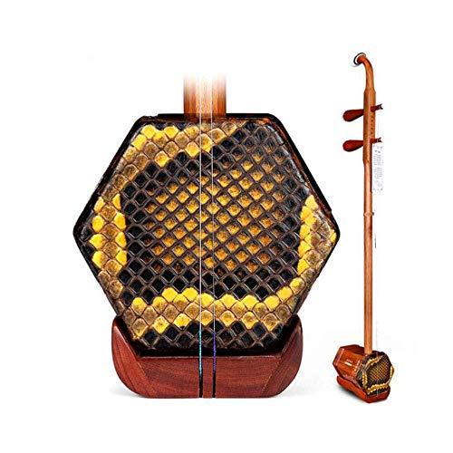 Erhu Musikinstrument, Kinder Erwachsene Anfänger Handgemachte Professionelle Universal-Instrument, Red Palisander Erhu, Nationalmusikinstrument, Red Palisander Silber Seide (Farbe: Natur) HUERDAIIT