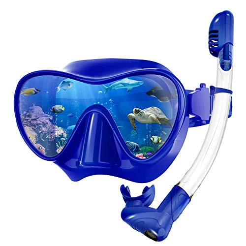 Rodicoco Snorkel Set Frameless Snorkel Goggles Foldable Snorkel Gear Detachable Snorkel Mask with 180Degree Panoramic View and Anti Fog Tempered Glass for Swimming Scuba Diving Snorkeling(Blue, L)