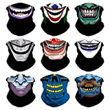 Headband Skull Seamless Clown Bandana Joker Head Wrap Scarf Neck Warmer Headwear Balaclava for Sports (9PCS Skull Series-3)