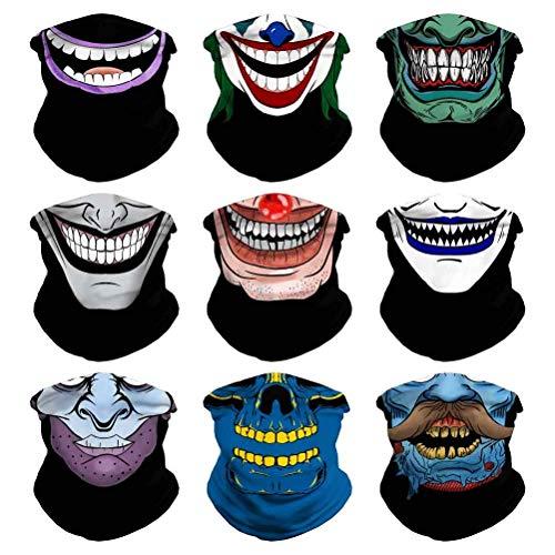Headband Skull Seamless Clown Bandana Joker Head Wrap Scarf Neck Warmer Headwear Balaclava for Sports (9PCS Skull Series-3)