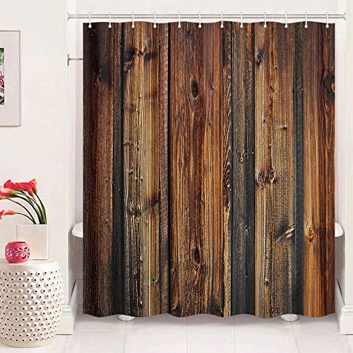 Rustic Shower Curtain Barn Wood, Country Vintage Wooden Shower Curtains Farmhouse, Western Countryside Lodge Cabin Shower Curtain Set with Hooks 69X70in