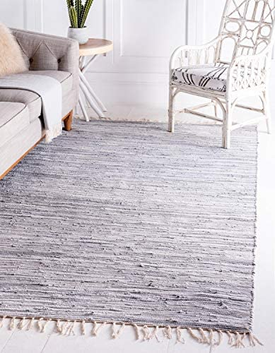 Unique Loom Chindi Cotton Collection Hand Woven Natural Fibers Area Rug CCH002 4 x 6 Feet Gray product image