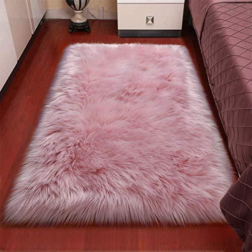 XUDAKJ Piel de Imitación, Artificial Alfombra, mullida excelente Piel sintética de Calidad Alfombra de Lana,Adecuado para salón Dormitorio Cama sofá (Rosado, 50_x_150_cm)