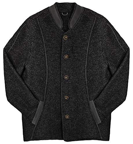 Dachstein Woolwear Men's Traditional 100% Austrian Boiled Wool Jacket (Black, Large)