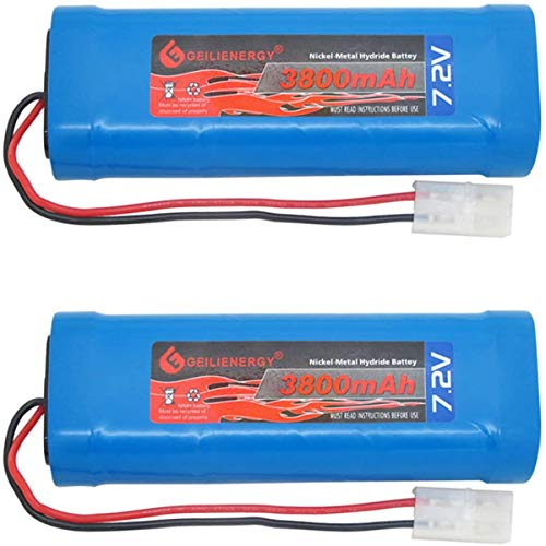 GEILIENERGY 2 Pack 7.2V 3800mAh High Power Rechargeable NiMH Battery Pack for RC Cars,Electric Rc Monster Trucks,Traxxas with Tamiya Connector(Color May Change)