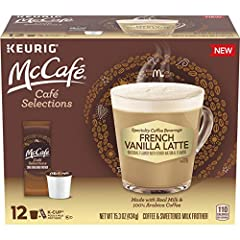 One 12 count box of McCafe Cafe Selections French Vanilla Coffee Keurig K-Cup Pods and Froth Packets Brews take inspiration from seasoned baristas Not too strong and never weak Made from 100% Arabica beans Works with all K-Cup Keurig brewing systems