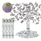 Relaxdays 5 x Party Popper Geldscheine, 6-8 m Effekthöhe, Karneval, Geburtstag, Spielgeld, Konfettikanone 40cm, lila/grün