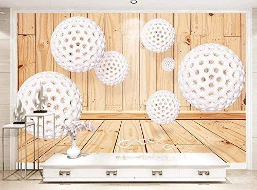 Papel pintado de la habitación del tablero de madera de la bola blanca Papel pintado no tejido Mural del efe Pared Pintado Papel tapiz 3D Decoración dormitorio Fotomural sala sofá mural-430cm×300cm