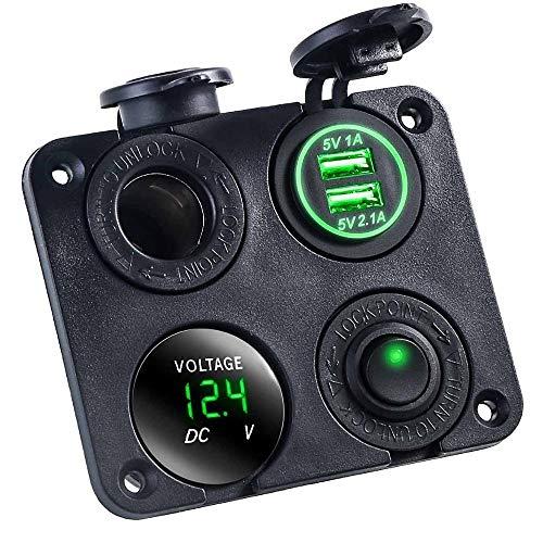 Auto Feuerzeug 12V-24V 2 Port Zigarettenanzünder-Splitter USB-Auto-Ladegerät-Ausgang mit LED-Licht gepasst for Auto-LKW-Motorrad-Boot ATV (Color Name : Green)