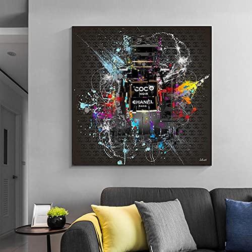 PLWCVERS Modern Street Griffiti Art Canvas Painting Posters e Impresiones Abstractos Cuadros de Botellas de Perfume de Pared para la decoración del hogar de la Sala de Estar | 60x60cm (Sin Marco)
