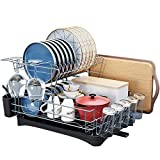 HOWDIA Large Dish Drying Racks,Two Tier Dish Rack Large Capacity Kitchen Dish Racks With Drainboard Set Utensil Holder Dish Drainer, Cup Holder,Cutting Board Holder For Kitchen Counter