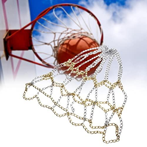 AUTUUCKEE Red de baloncesto de cadena de acero galvanizado resistente, red de aro y anillo para objetivos deportivos, cadena de metal de repuesto para Netball se adapta a la mayoría de aros estándar