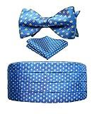 HISDERN Hombres Formal Polka Puntos Seda Cummerbund & Corbata de mono & Plaza de bolsillo Set Azul marino/amarillo