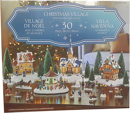 Christmas Village with Lights & Music 30 Piece Plays 8 Classic Christmas Songs