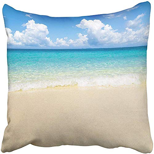 FPDecor Funda de Almohada, Throw Pillow Covers Cases Decorative 18x18 Inch Blue Bay Beautiful Beach Tropical Sea Beauty Clear Cloud Coast Day Hot Island Two Sides Print Pillowcase Case Cushion Cover