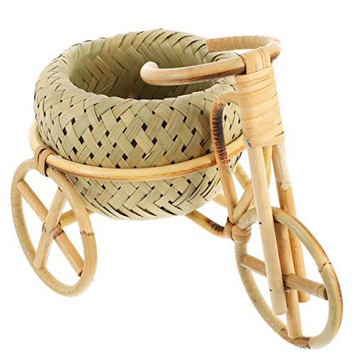 VOSAREA Tricycle Planter Bicycle Flower Plant Pot Rattan Weave Basket Plant Stand Succulent Bonsai Pot for Home Office
