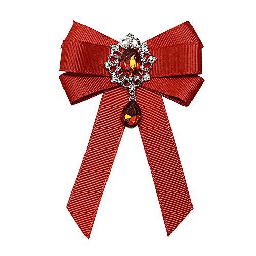 Red Ribbon Bow Brosche Strass Kristall Stoff Stoff Kunst Luxus Brautkleid Anstecknadeln und Broschen Geschenk für Frauen