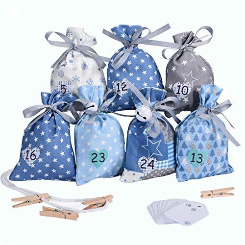 KOHMUI Adventskalender zum Befüllen, Weihnachtskalender Stoffsäckchen Selbstbefüllen Aufhängen, Selbst Befüllen Bastelset, 24 Weihnachten Geschenksäckchen, Hochwertige Blau Säckchen aus Baumwolle
