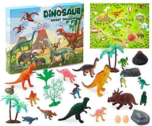 KreativeKraft Adventskalender 2020, Dinosaurier Adventskalender Kinder 24er Pack, Dino Zubehöre Spielzeuge Weihnachtskalender Mädchen und Jungen