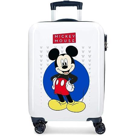 Disney Mickey Enjoy the Day Maleta de cabina Blanco 40x55x20 cms Rígida ABS Cierre combinación 34L 2,8Kgs 4 Ruedas Dobles Equipaje de Mano