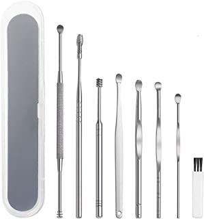 8 Pcs Ear Pick Earwax Removal Kit, Ear Cleansing Tool Set, Ear Curette Ear Wax Remover Tool with Cleaning Brush and Storag...