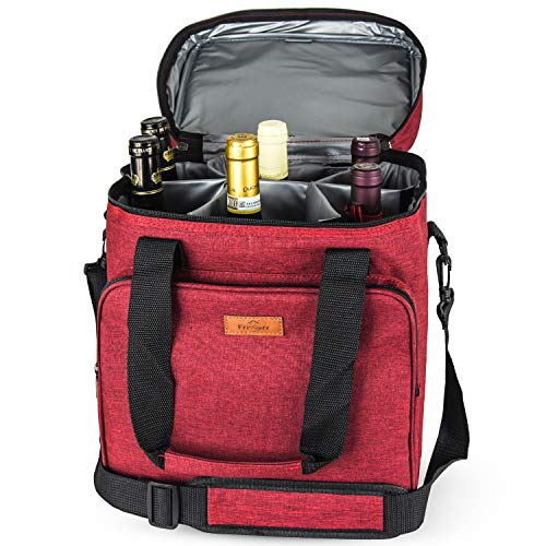 Bolsa de vino con aislamiento de Freshore Bolsa de 6 botellas - Portátil de viaje acolchado Bolsa de transporte de lona ajustable Correa para el hombro - (Passion Red)