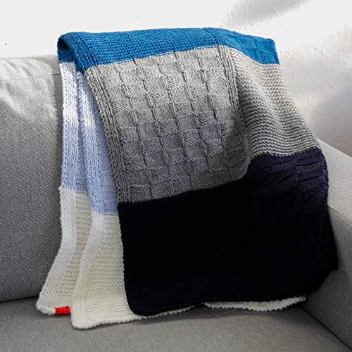 Strickset für Anfänger - Strickset Decke Winterabend- Decke Stricken Wolle – 3 Muster Patchworkdecke blau/grau/weiß - 15x Merinowolle + Strickanleitung Decke + GRATIS Label- Set zum Stricken
