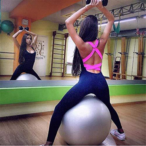 Yogabroek extra zachte legging met zakken voor dames,Sport yoga jumpsuit, fitness hardlooplegging-Rose_S,Blouse met V-hals