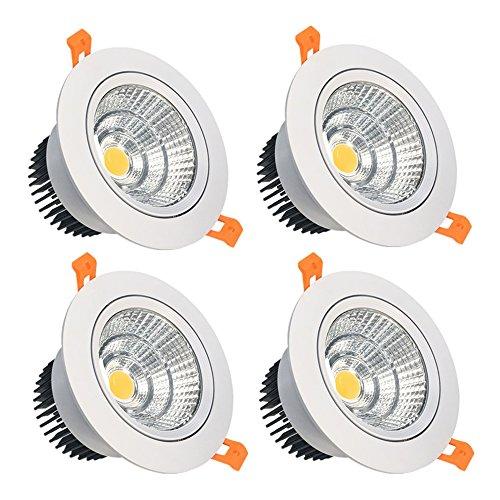 lightingwill 16 W cri80 encastrable COB LED Spot encastré directionnel de la découpe 4,76 en (119 mm)) 60 Angle de faisceau Plafonnier 120 W équivalent ampoules halogènes - 4-Pack Dimmable Warm White