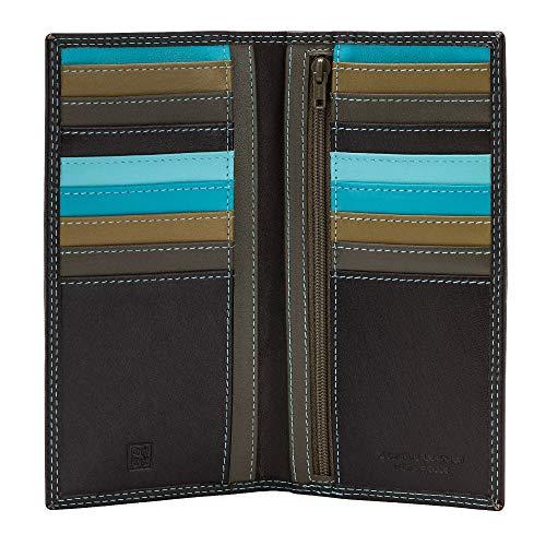 DUDU Portafoglio Donna Anti RFID in Pelle Colorato Grande con 16 Tasche Porta Carte di credito Tessere Marrone scuro