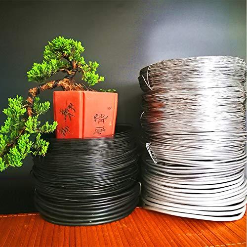 HONGY 1 rollo de alambre de aluminio anodizado para bonsái, alambre flexible para árbol de jardín y plantas florales, 3,5 mm/4 mm/5 mm/6 mm de grosor para elegir