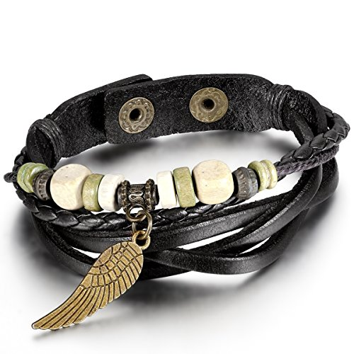 JewelryWe Mens Womens Bead Leather Bracelet, Angel Wing Braided Cuff Bangle, Black Silver