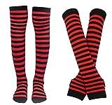 Bienvenu Colorful Rainbow Stripe Leggings Long Knit Gloves Socks Set Party Costume Accessory,Red