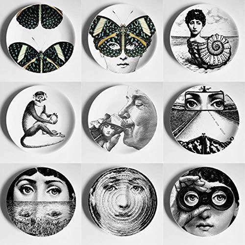 QHKYT PlatteDekoration 8 -Zoll -Neue Art undWeise Mailand StilBrett Kunstsammler Brett Farbe Schwarzweiß Illustration Dekorative Wobble -Platte