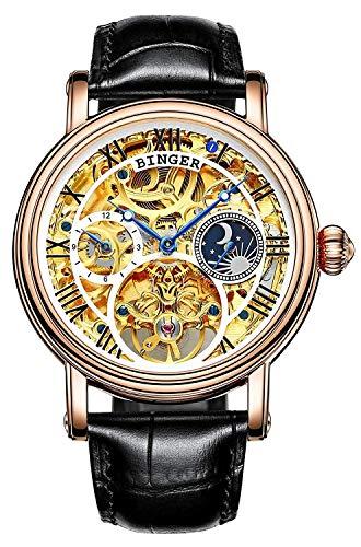 Swiss Brand Luxury Luminous Waterproof Watch Mens Automatic Mechanical Wrist Watch Silver Stainless Steel (BINGER-Skeleton Gold)