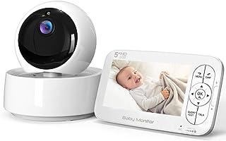 Vigilabebés Inalámbrica con Cámara COOAU Video Bebé Monitor con Pantalla LCD HD de 5 Pan 355°/Tilt 120° Ajustable Zoom 2x Visión Nocturna Modo de Dormir Comunicación Bidireccional