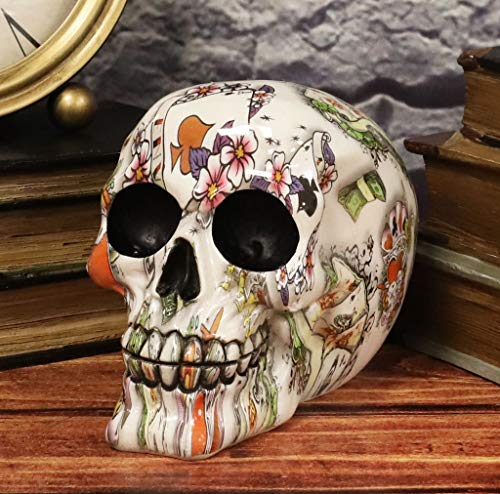 Ebros Gift Day of The Dead God of Gamblers Playing Cards Poker Face Floral Tattoo Sugar Skull Statue As Decorative Halloween Prop Gothic Haunted Themed Skeleton Cranium Figurine