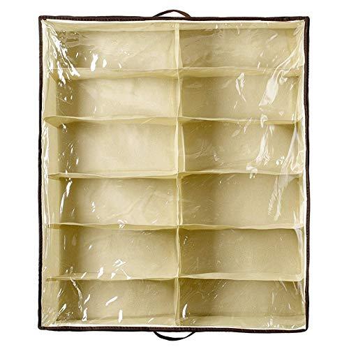 SHUAISHUAI Cabinete de zapatos creativos transparentes no tejidos a prueba de polvo a prueba de polvo 12 Zapatos de almacenamiento Bolsa de almacenamiento Soporte de organizador bajo el armario ahorra
