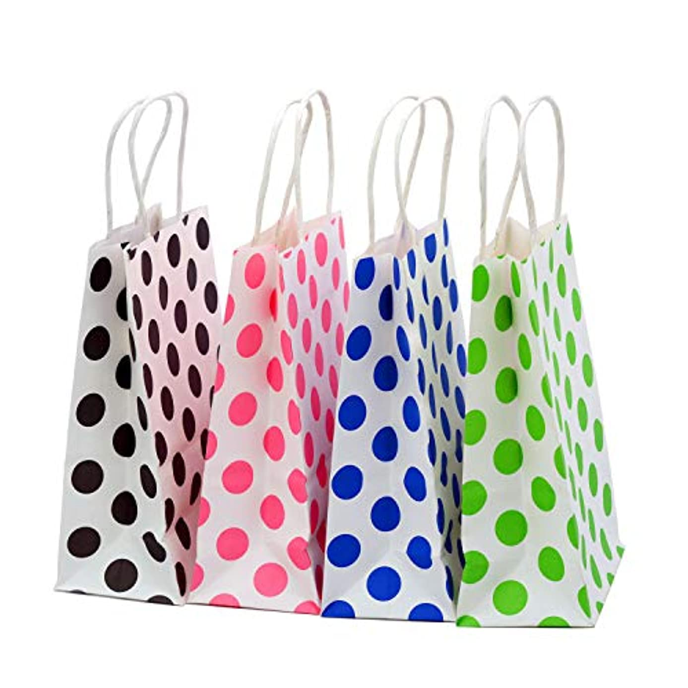 24 Pieces Kraft Paper Gift Bags with Handles (Polka Dot)