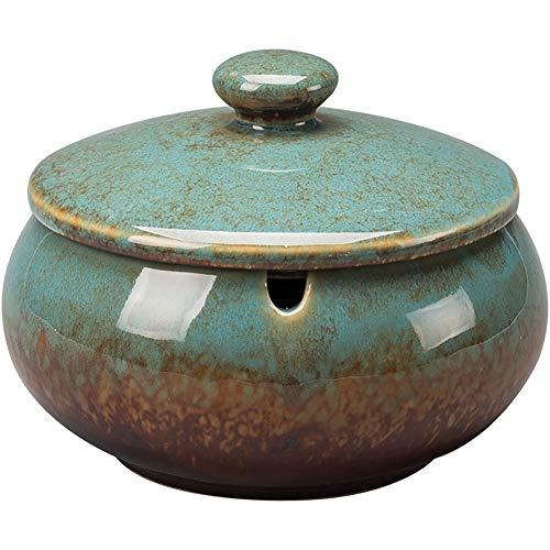 Anitd - Cenicero con tapa para exterior de cerámica, decoración de apartamento, pequeño, redondo, 11 x 8 mm, color azul